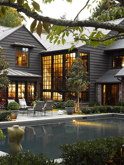 Country glam in 2019 homes modern farmhouse exterior - Houses with black windows ...