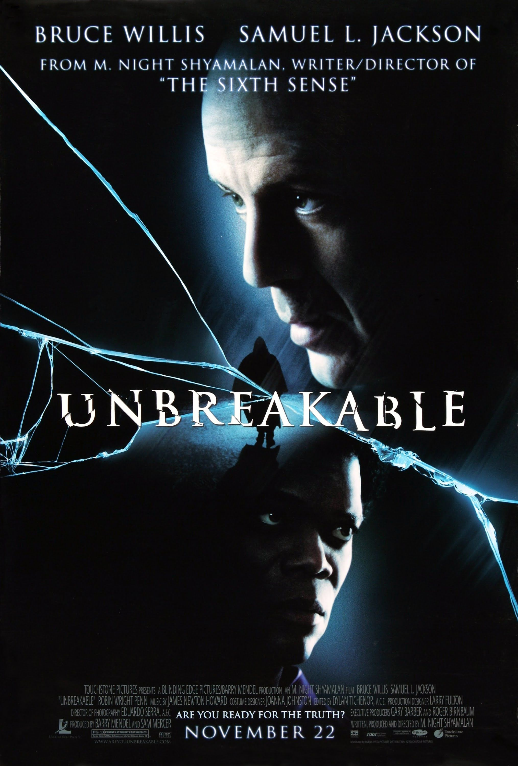 [Bruce Willis Movies] ''Unbreakable'' (2000) [Full Movie HD 1080p] link: https://youtu.be/T7eQhoOZR-4 ''' a 2000 American neo-noir superhero drama film written, produced, and directed by M. Night Shyamalan and starring Bruce Willis and Samuel L. Jackson. The film tells the story of Philadelphia security guard David Dunn, who slowly discovers that he possesses superhuman powers.''