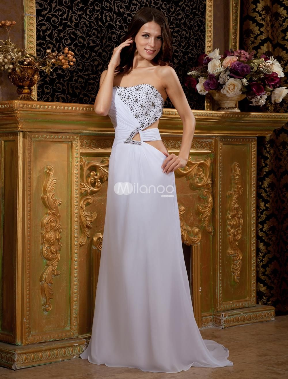 White strapless aline beading chiffon prom dress see more