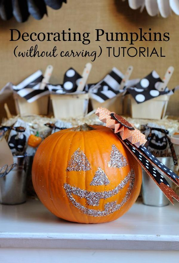Diy glittering pumpkins crafts creative and pumpkins for Pumpkin sculpting tutorial
