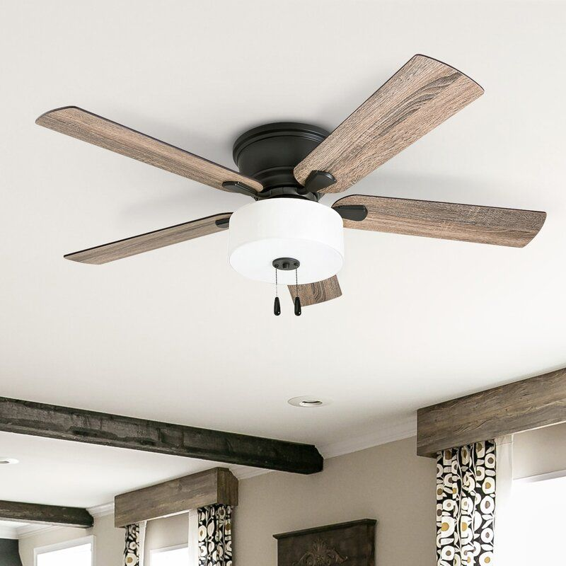 Gracie Oaks 52 Mont 5 Blade Flush Mount Ceiling Fan With Pull Chain And Light Kit Included Wayfair Ceiling Fan Bedroom Ceiling Fan Ceiling Fan In Kitchen