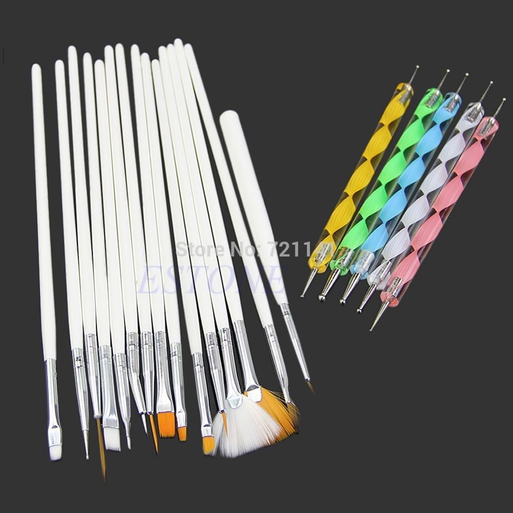 U119 15Pc Nail Art Design Brushes + 5Pc Dotting Painting Drawing ...
