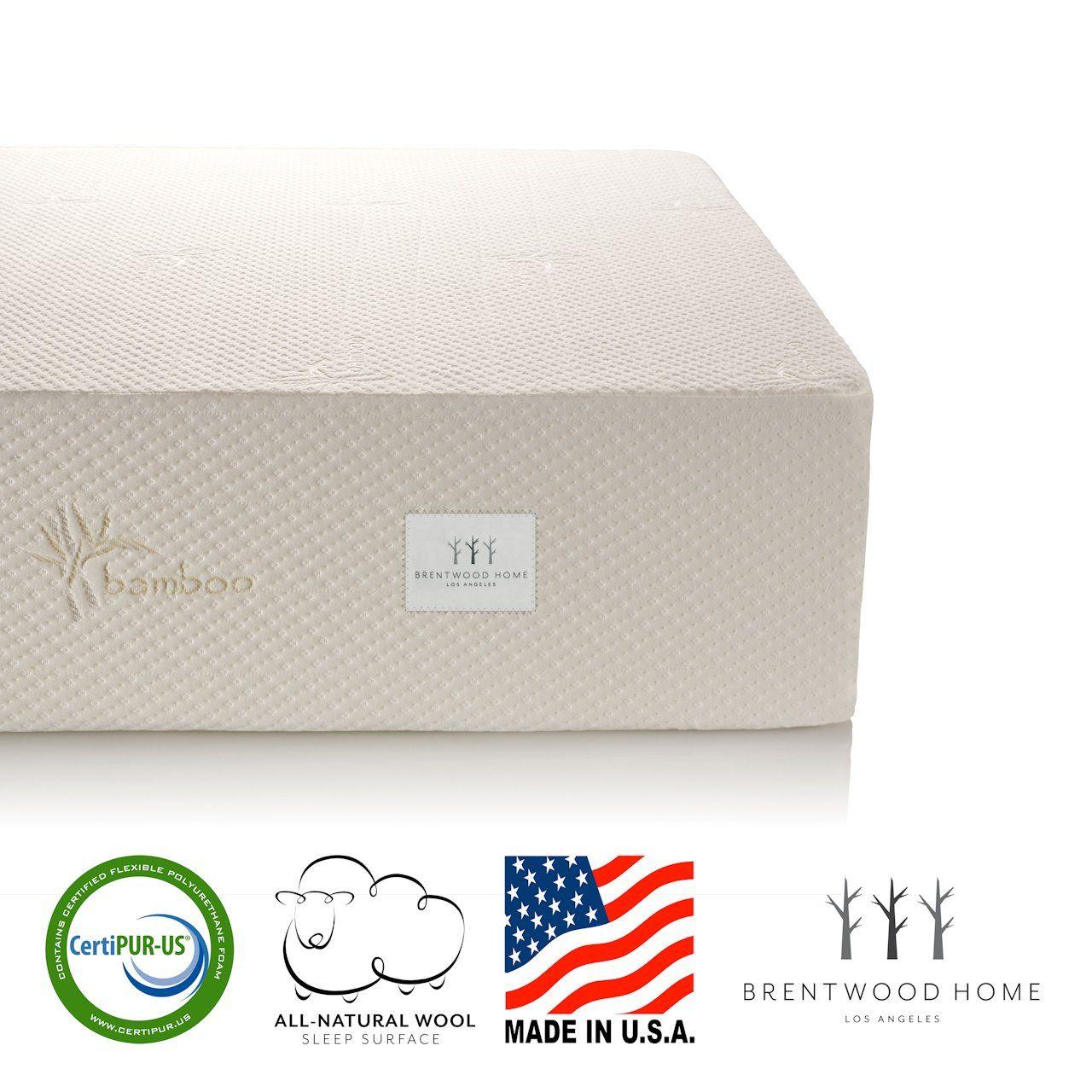 Brentwood home bamboo mattress gel memory foam inch split cal