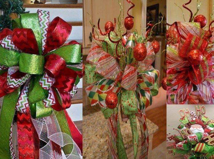 Lazos para arbol de navidad con malla