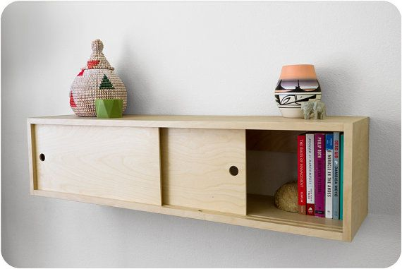 Wood Floating Shelf Cabinet With Sliding Doors Mid By Gracemodern