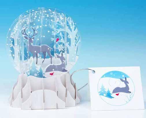 Winter Deer 3d Snow Globe Christmas Card Greeting Cards Diy Paper Crafts Cards Pop Up Cards