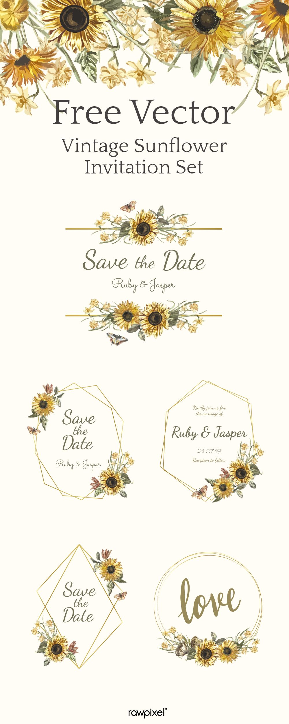 Download free Vintage Sunflower Invitation Vector Set at rawpixel