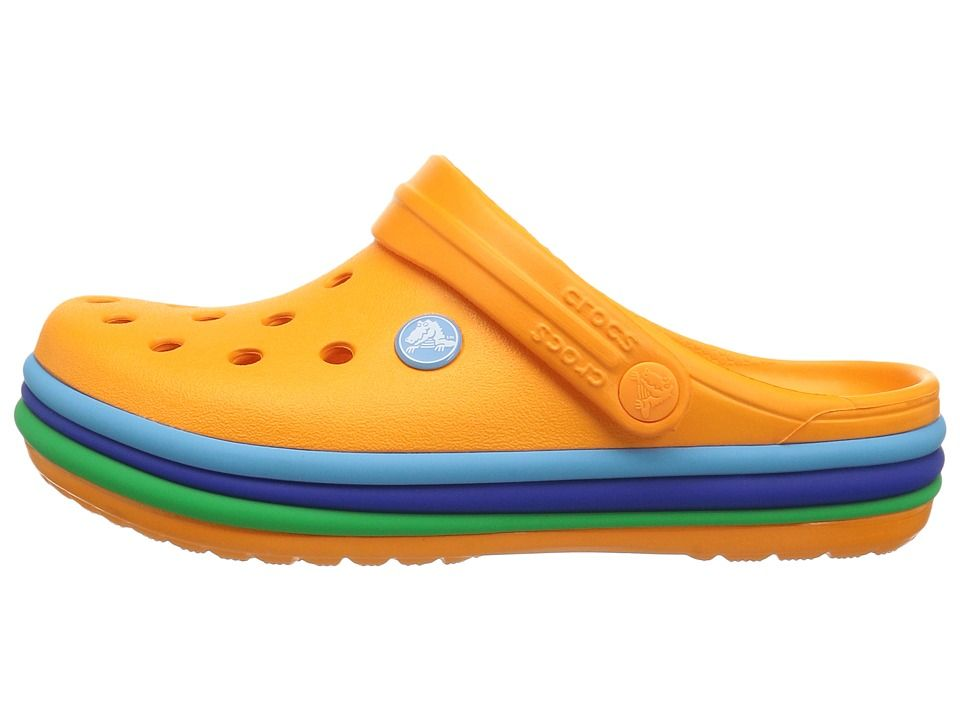 b0ec2bae34f388 Crocs Kids Crocband Rainbow Band Clog (Toddler Little Kid) Kids Shoes  Blazing Orange