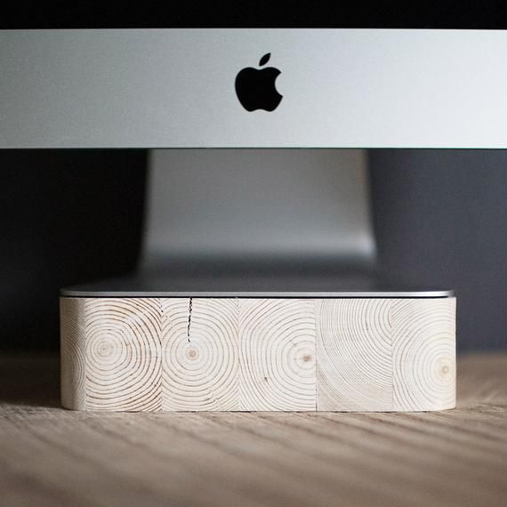 Imac Thunderbolt Computer Stand Apple Computer Pine Wood