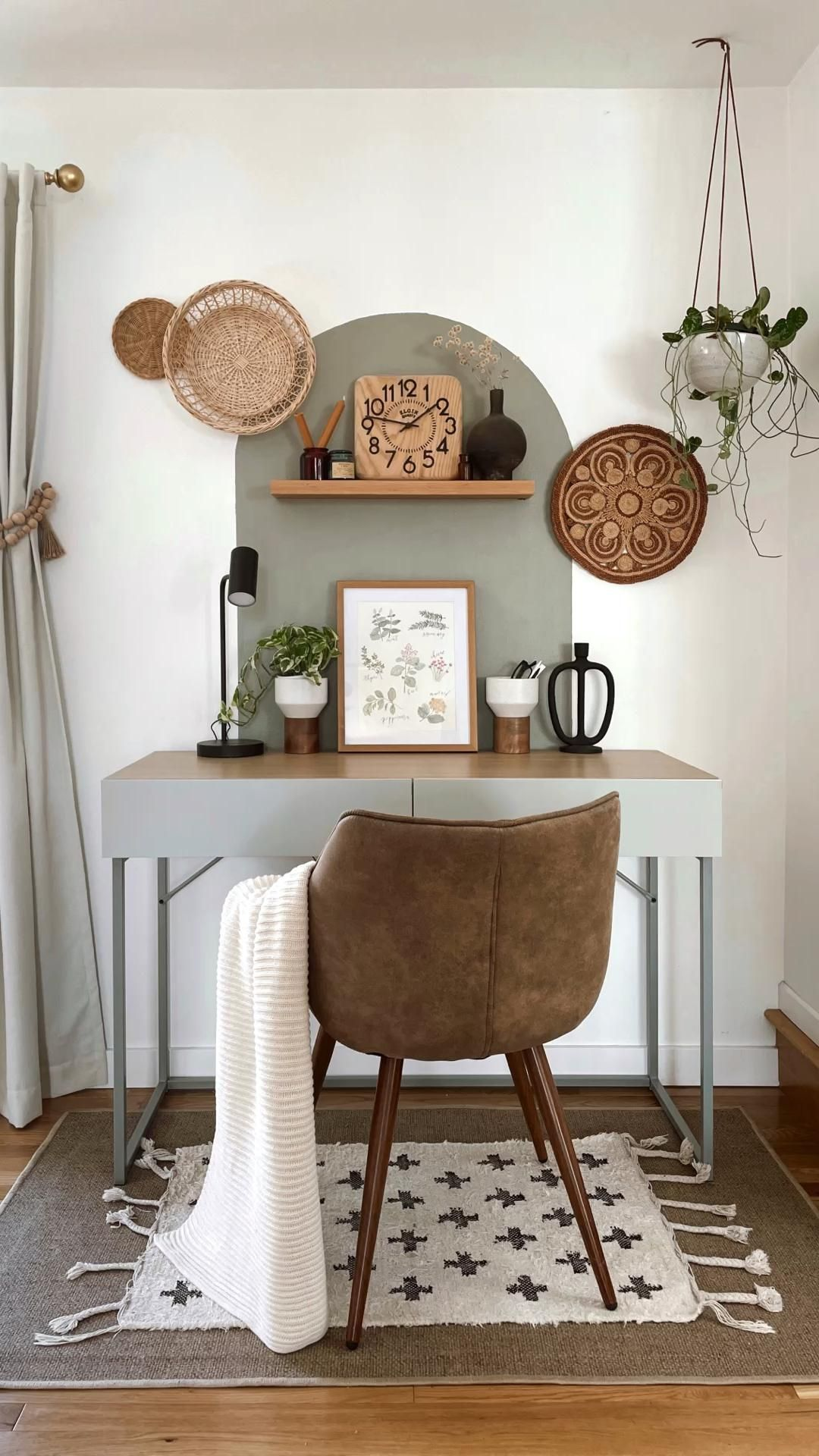 It's a vibe. Office nook color block Scandi Nordic boho modern office space work from home office