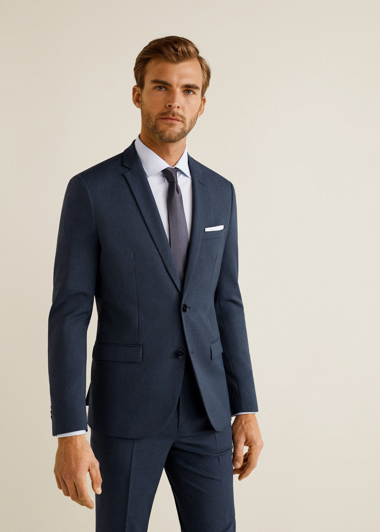 Mango Super Slim-Fit Patterned Suit Blazer - Men  97e000f3323