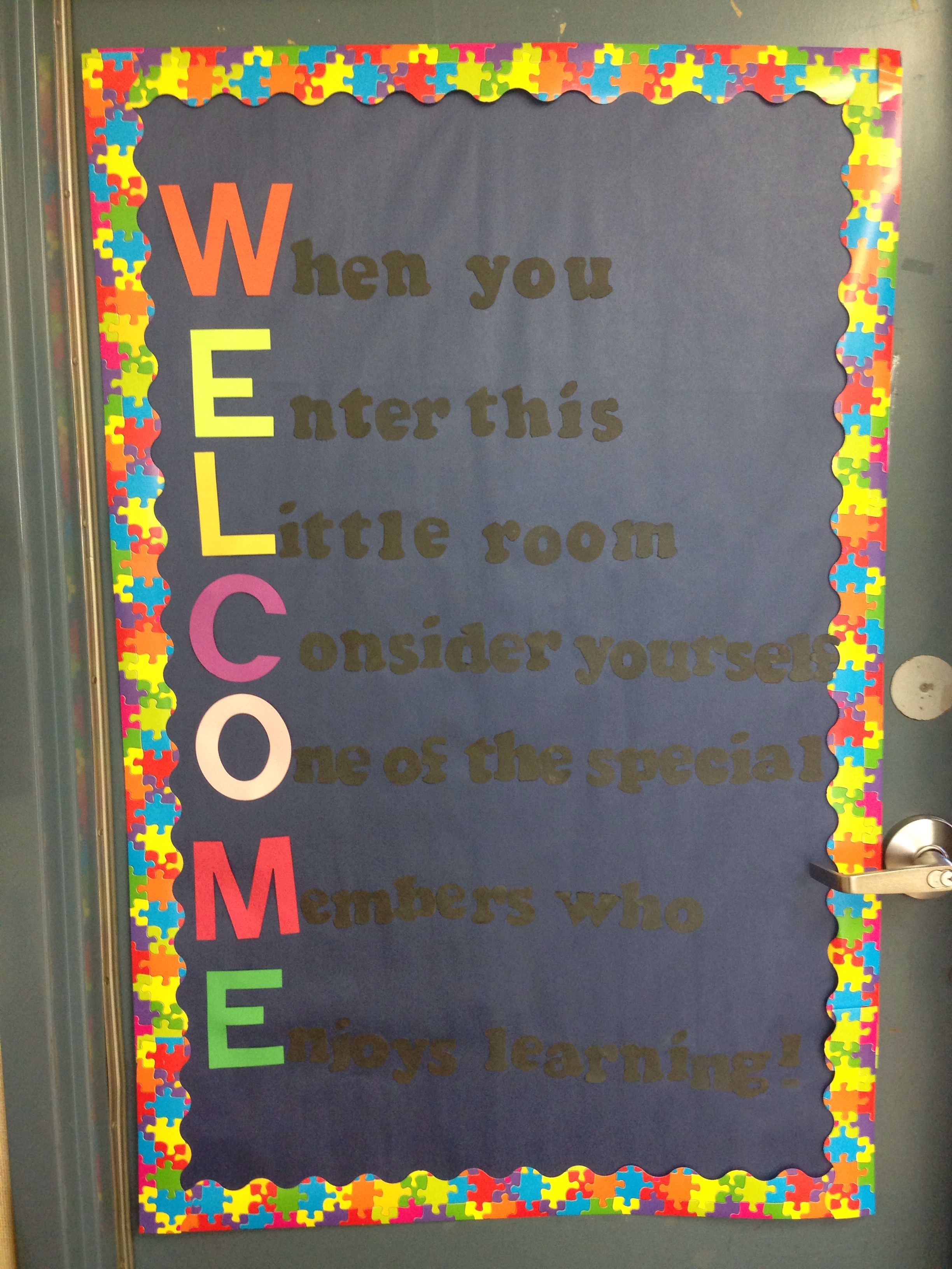 Classroom Board Decoration Ideas : Welcome to our class door decoration for third grade