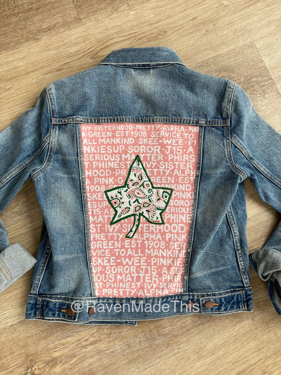 Alpha Kappa Alpha Denim Jacket Jackets Alpha Kappa Alpha Pink And Green [ 1200 x 900 Pixel ]