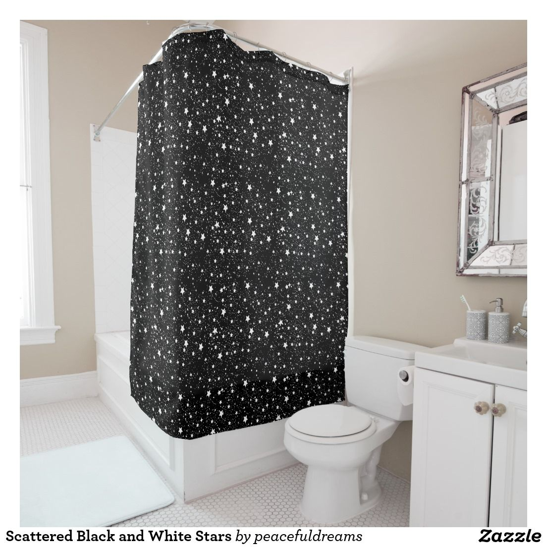 Scattered Black And White Stars Shower Curtain Zazzle Com Black Shower Curtains Nautical Shower Curtains Black Shower