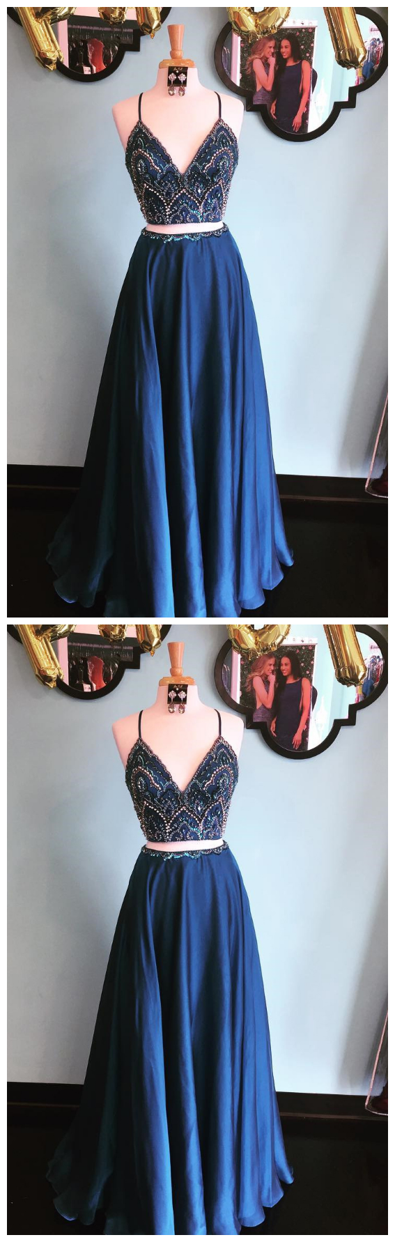 Sparkly two piece sequins navy blue long prom ivo wedding