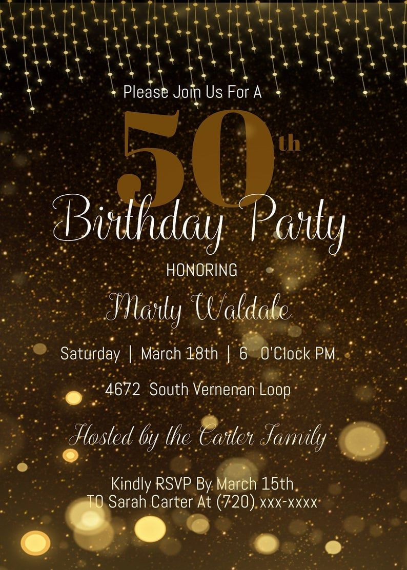 50th Birthday Party Invitation Template Printable 50th Etsy In 2021 50th Birthday Invitations Party Invite Template 50th Birthday Party Invitations