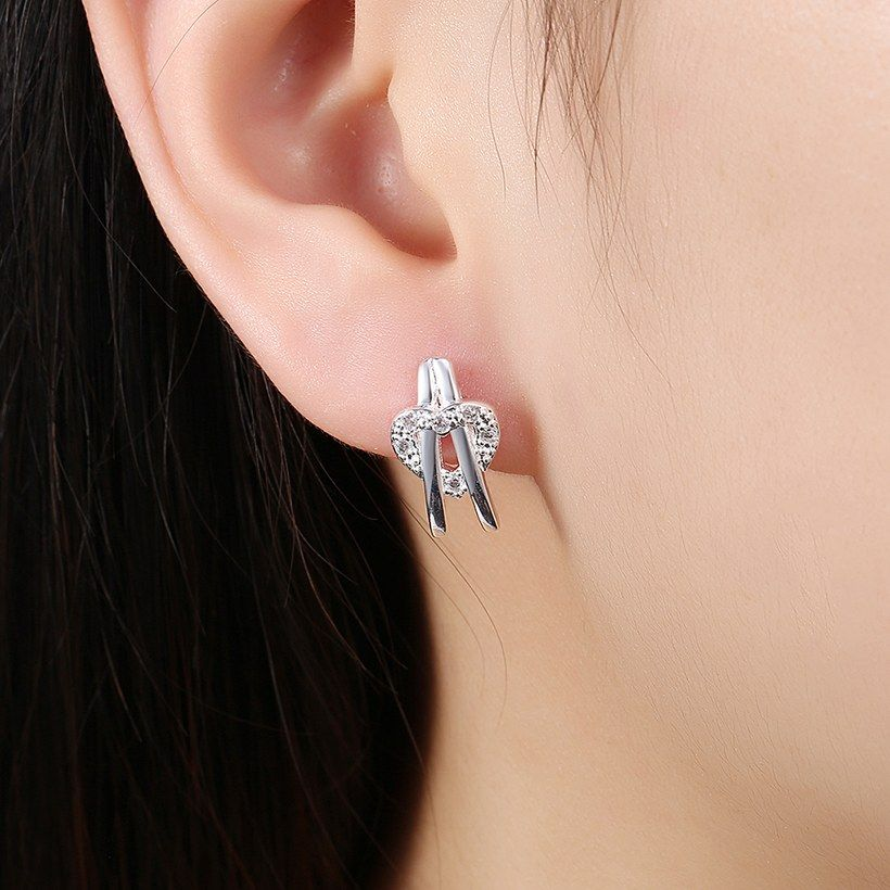 Trendy Silver Plated Heart White Cubic Zirconia Stud Earrings for Women SPSE218 4