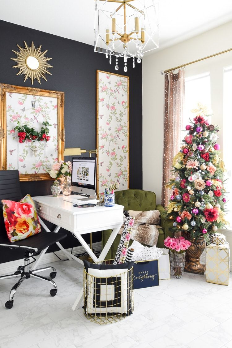 Colorful Christmas Decorations For A Home Office Monica Wants It Colorful Christmas Decorations Decor Affordable Holiday Decor