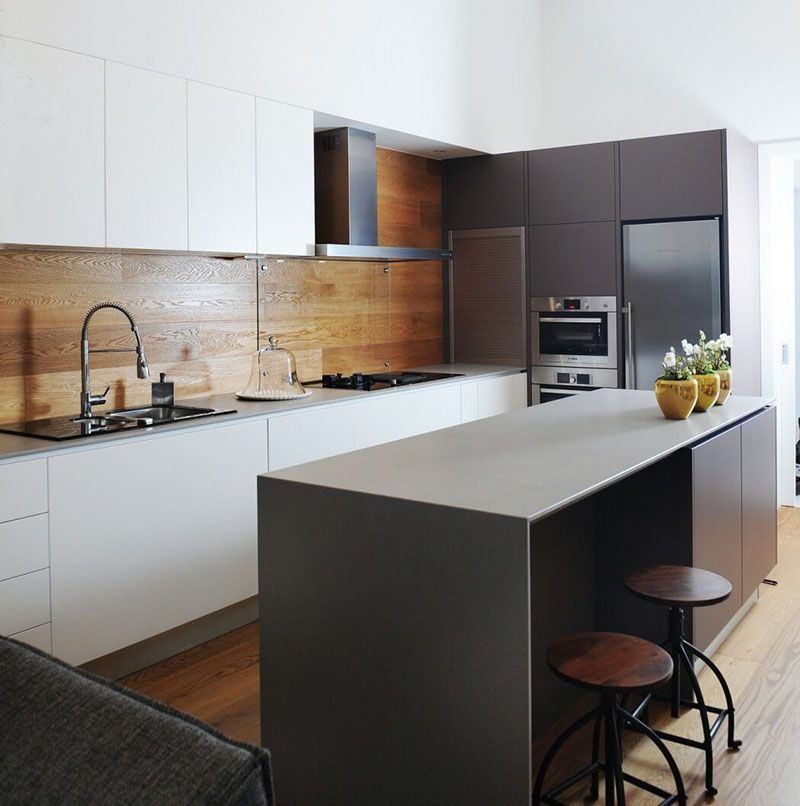 Timber Kitchen Black Benchtop: Kitchen:White And Grey Cabinets Black Metal Barstools