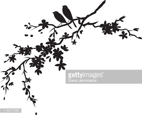 Two Little Birds Sitting On Cherry Blossoms Branch Silhouette Cherry Bird Silhouette Tattoos White Bird Tattoos Pattern Tattoo