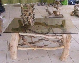 NOUVEAUTES table en bois flotté et lampes | Table basse bois flotté ...