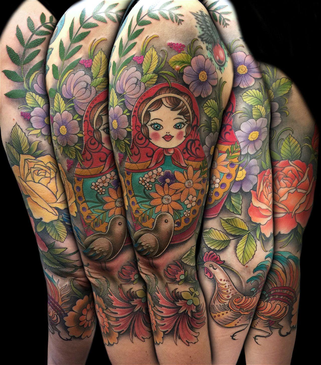 9e68b4bd2 Russian Folk Art ¾ Sleeve Tattoo by David Mushaney, Dallas, TX  www.DMTattoos.com