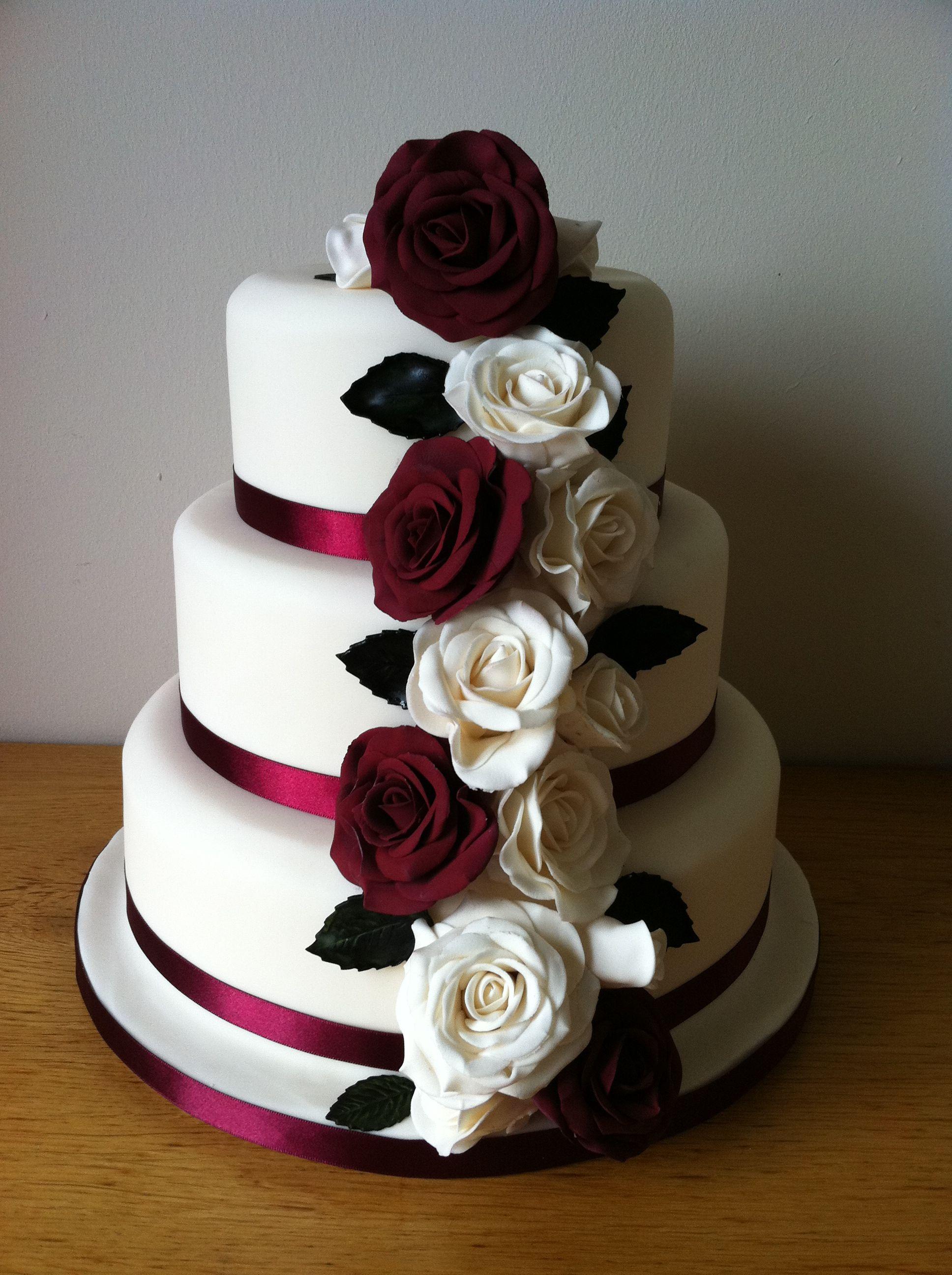 Love Wedding Cakes Burgandy And Ivory Rose Cake
