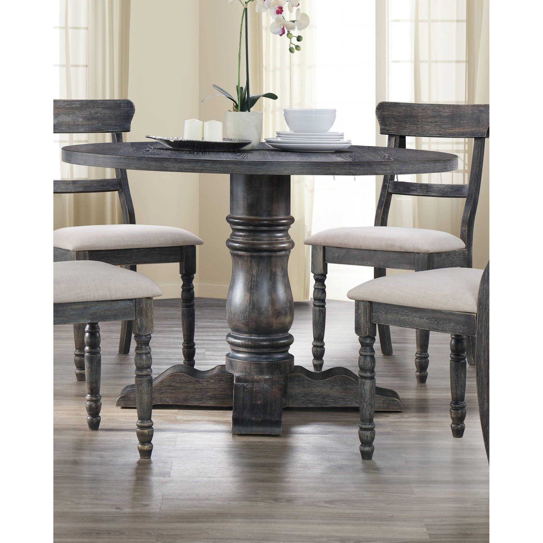 Best Master Furniture Weathered Grey Round Dining Table Grey