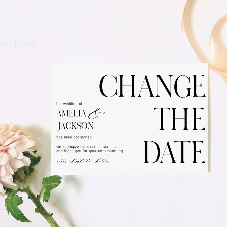The 14 Best Change the Date Cards to Send If Your Wedding is Postponed in  2020 | Wedding party invites, Wedding, Wedding cancellation