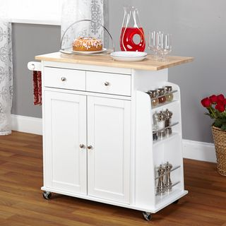Two Door Cabinet Kitchen Cart One Utility Drawer Four Wheeled Base White Finish