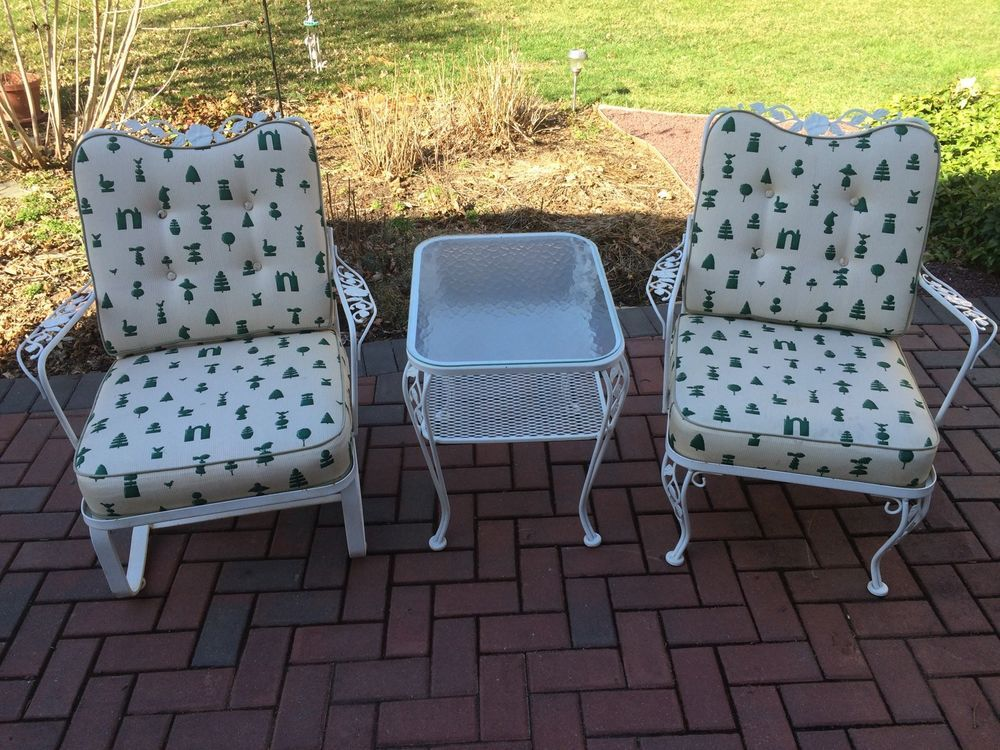 Vintage Woodard Wrought Iron Patio Set 2 Chairs Table Very