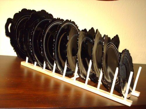 10 Black Amethyst Glass Plates LE Smith