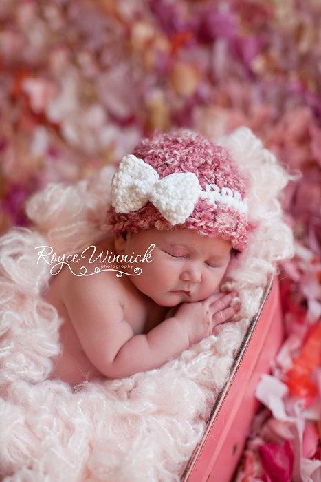 PDF Pink Beanie White Bow Beginner CROCHET  PATTERN No 260 photo prop All sizes preemie, newborn. 0-3, 3-6 months, child, teen, adult