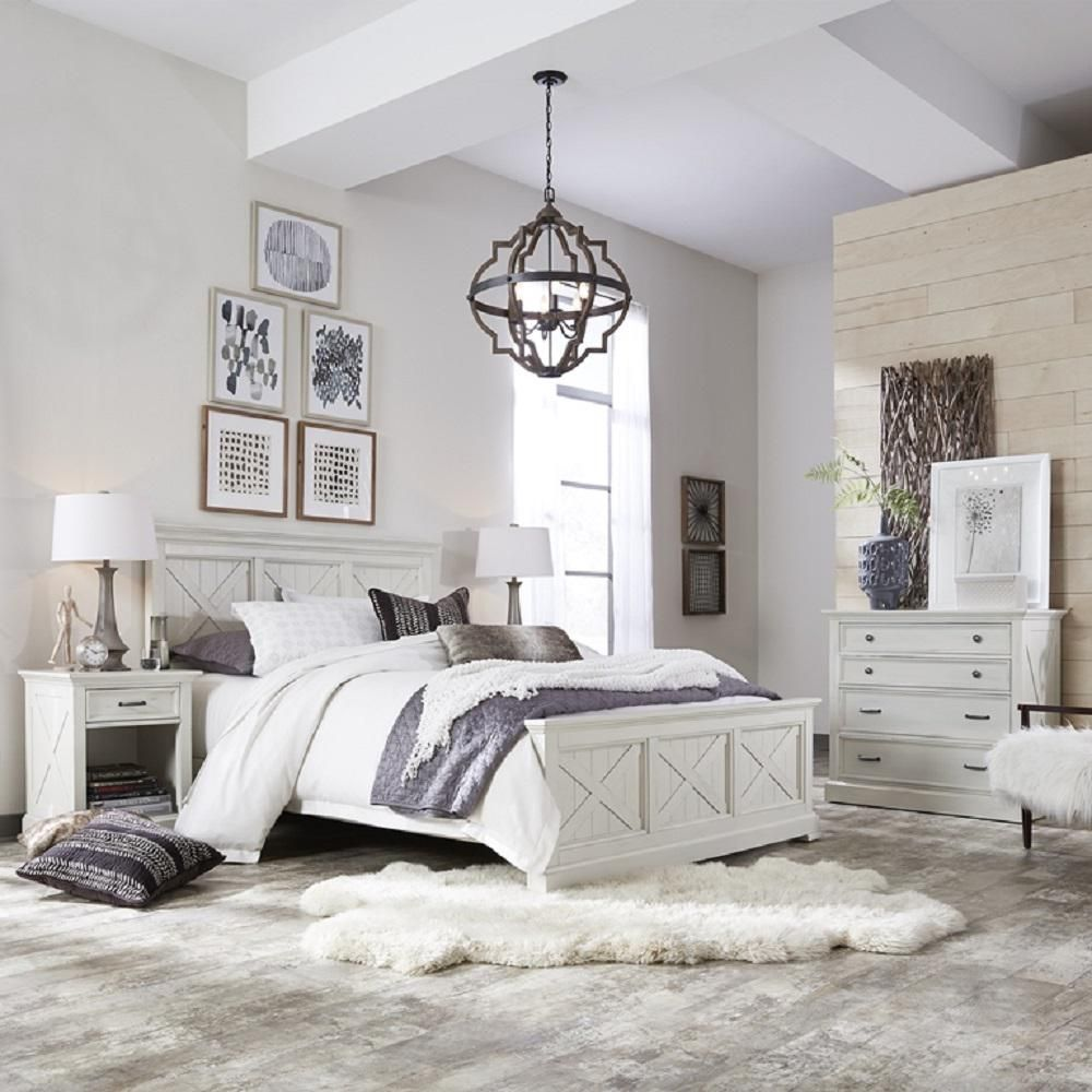 homestyles seaside lodge hand rubbed white queen panel bed