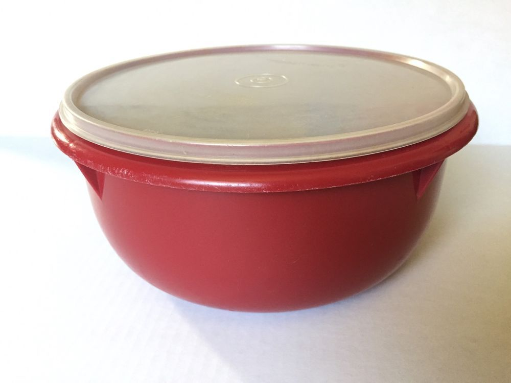 Vintage Tupperware Large Mixing Bowl In Harvest Red With Sheer Lid 272 14 Vintage Tupperware Tupperware Food Container Set