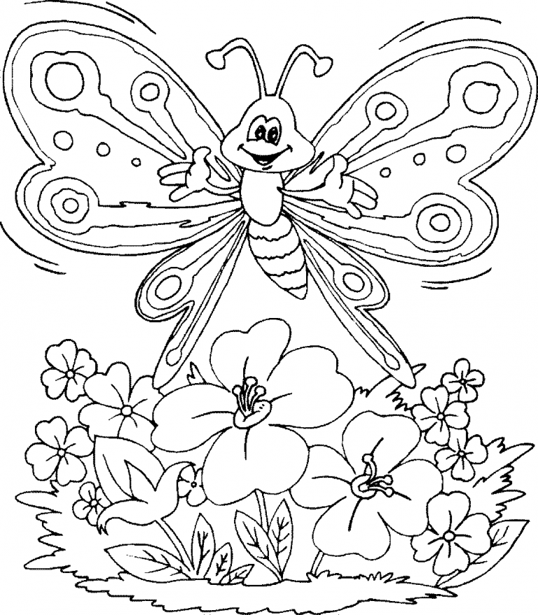 Printable Coloring Pages Of Butterflies And Flowers