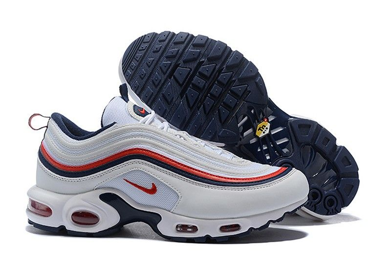 "cf8a3153ae8176 Top Quality Nike Air Max 97 Plus TN ""White-Dark Blue-Red"" Men s ..."