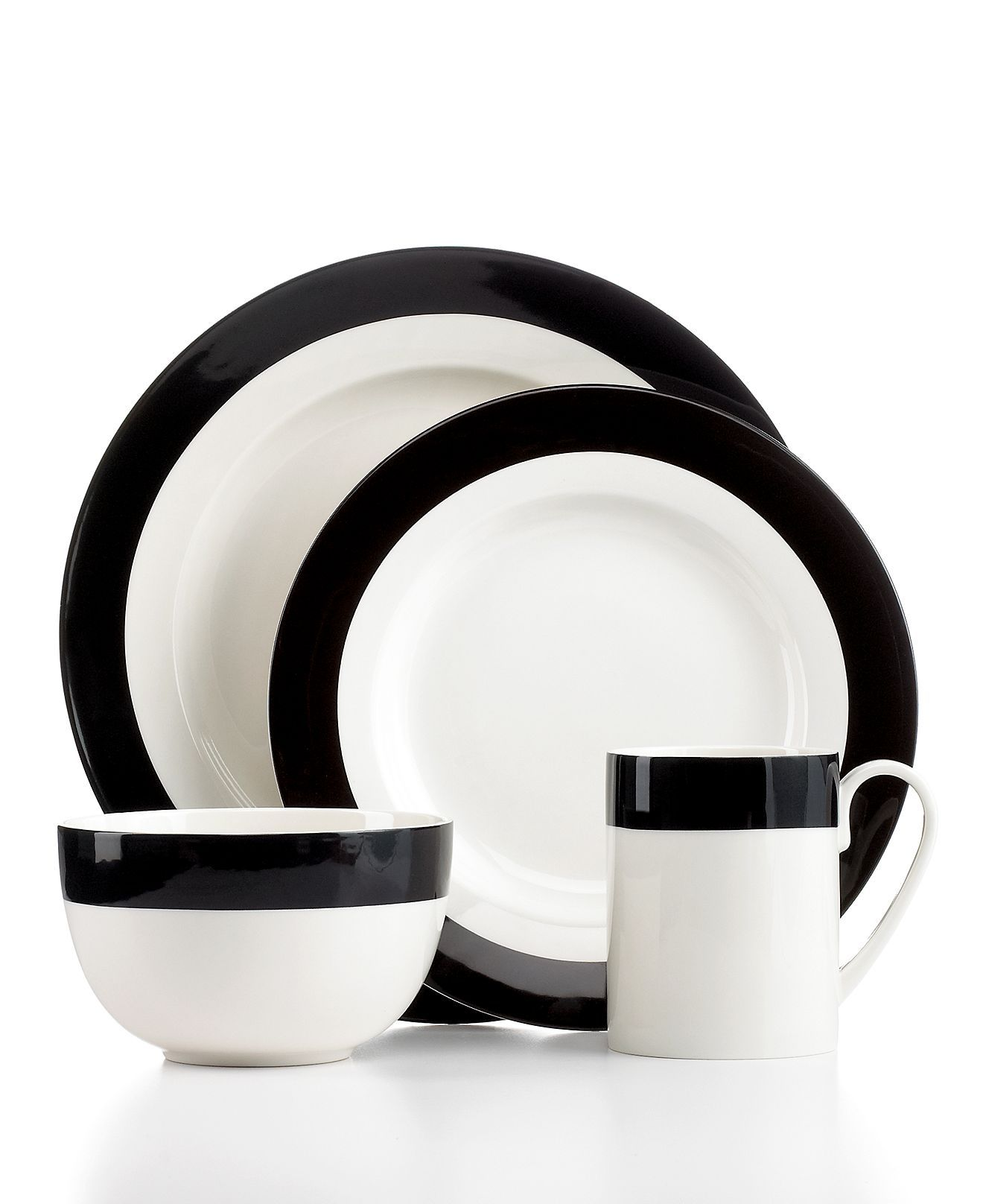martha stewart collection dinnerware classic band black 4 piece place setting casual dinnerware
