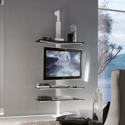 Porta Tv Cristallo Design.Kino Tv A Parete Ripiani In Vetro E Tv A Muro