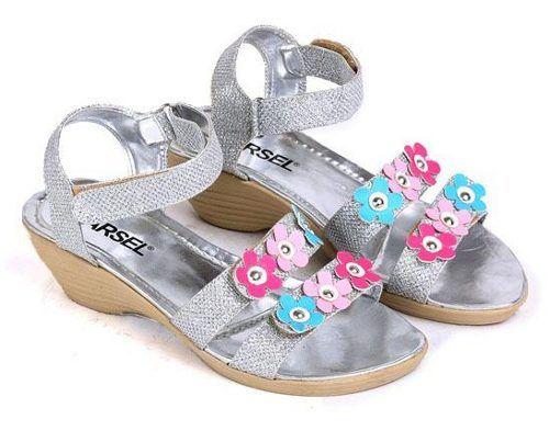 Sepatu Sandal Anak Perempuan Silver Bunga Sepatu Sandal Anak