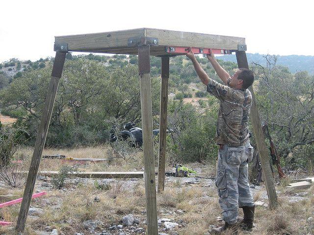 Working on an elevated deer blind ground blinds deer for Deer stand steps