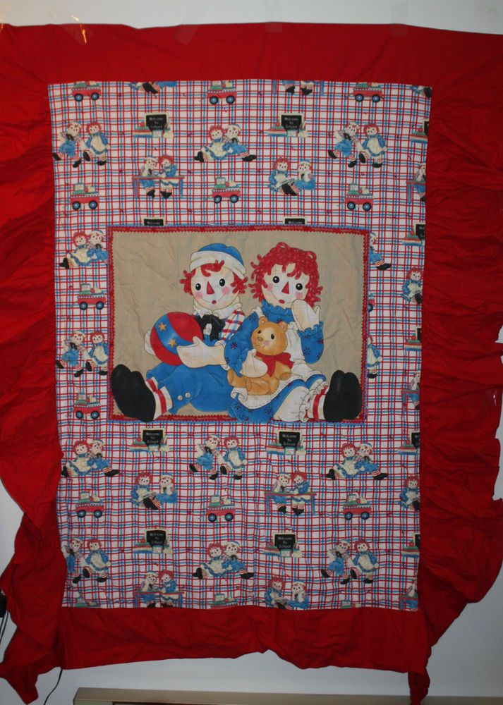 Raggedy Ann & Andy Bedspread Blanket Quilted Lined Single Bed 2 ... : raggedy ann quilt pattern - Adamdwight.com