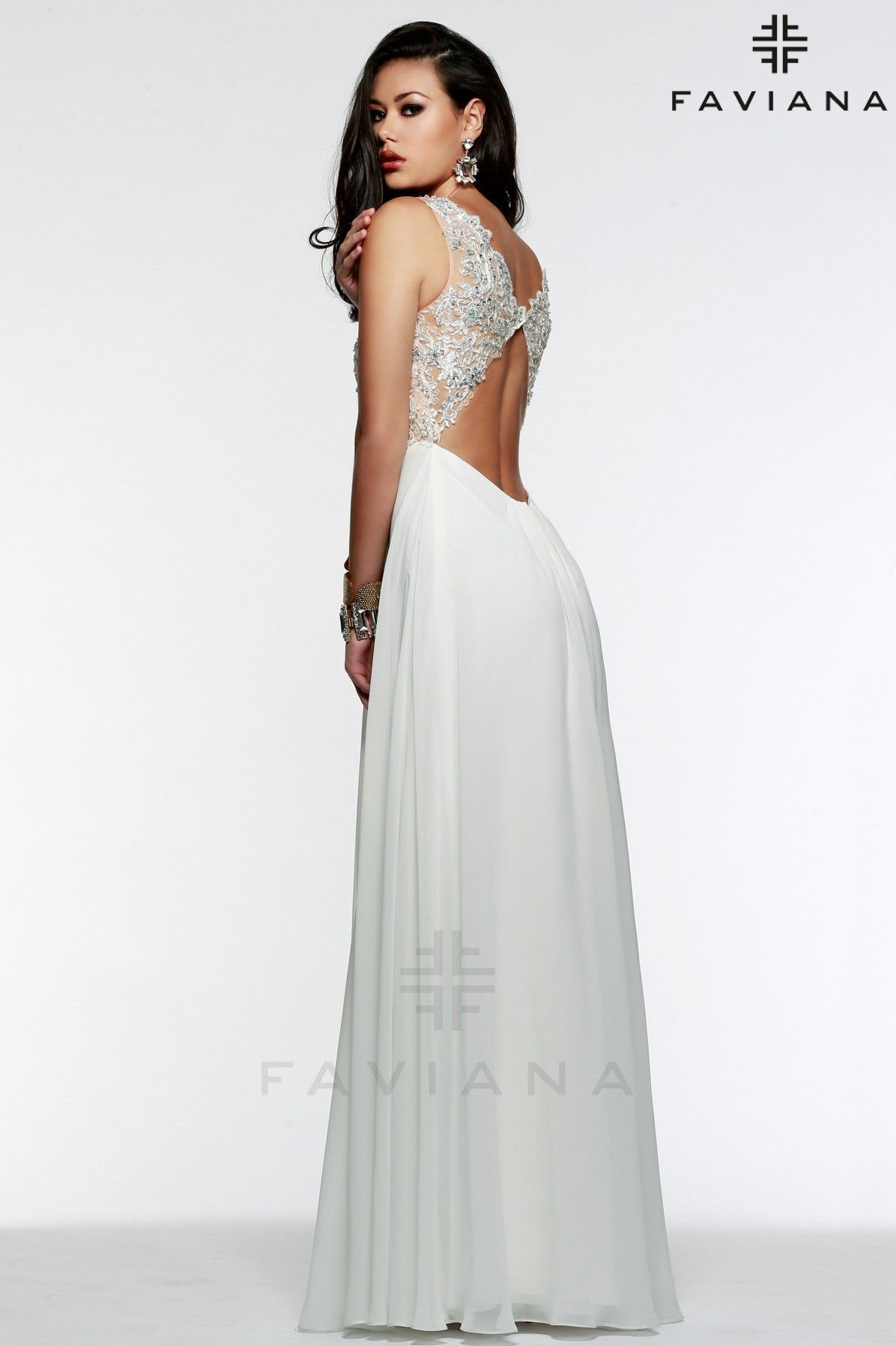 Beautifully beaded V-neckline illusion cut-out sides and beaded ...