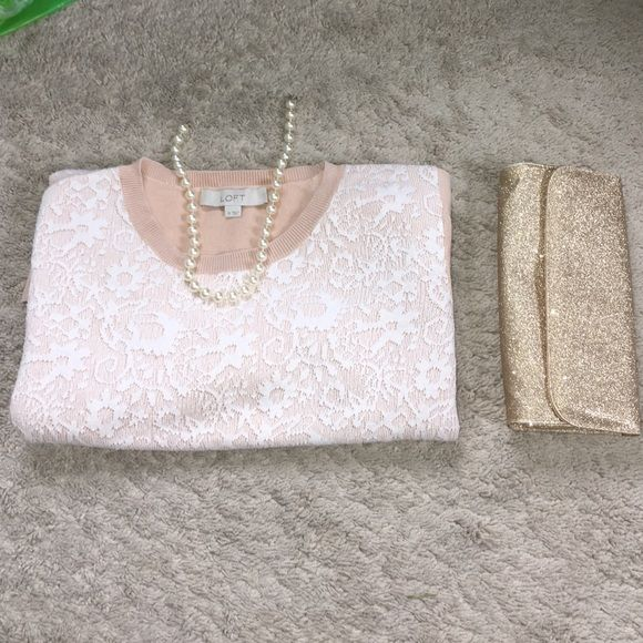 Ann Taylor LOFT top Like new! No stains, tears or pilling. Thick. Ann Taylor LOFT brand. Beige/pink color. Goor quality. Make an offer! LOFT Tops