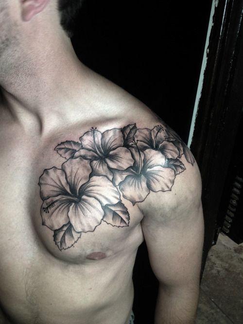 Pin By Julie Cramer On Cool Ink Hibiscus Tattoo Men Flower Tattoo Flower Tattoo Shoulder