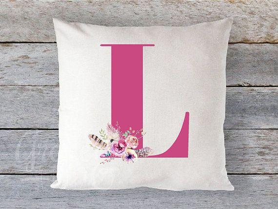 Pillow Cover 16 x 16  Monogram with Floral Bouquet by GRACEandCRUZ
