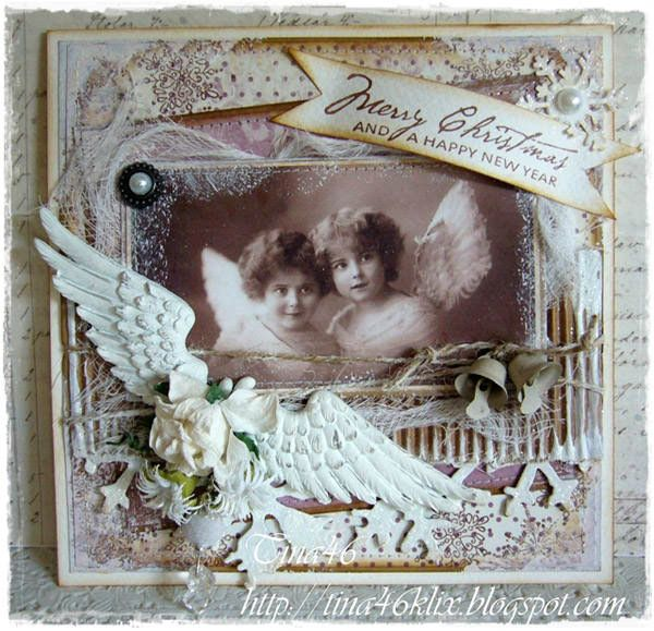 """Christmas Card created by LLC DT Member Tina Klix, using papers from Pion Design's """"Studio of Memories"""" collection. The angel image is from Inkido."""