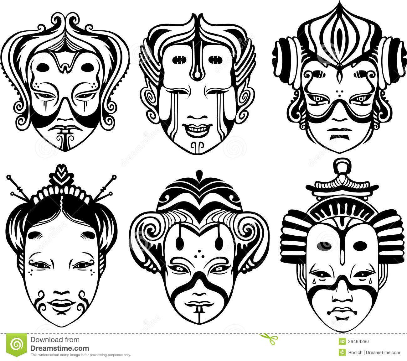 01c1fd190 Máscaras japonesas del Theatrical de Tsure Noh | MASK | Mascaras ...