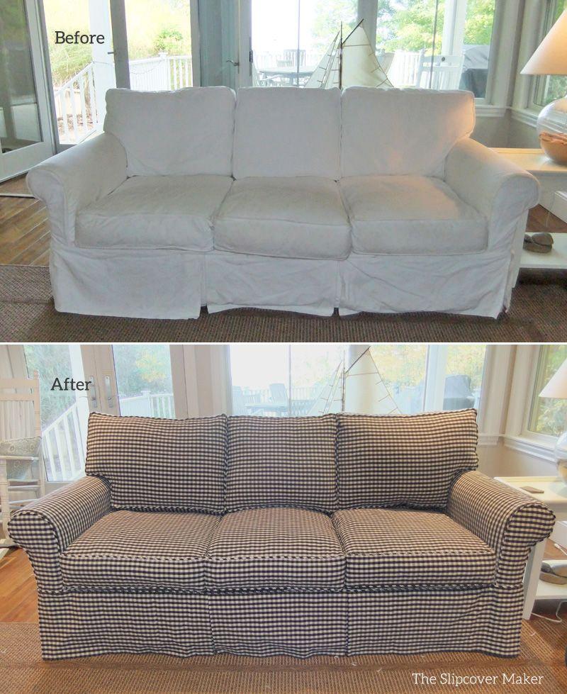 Custom Sofa Slipcover In Chester Cotton Gingham Charcoal Antique White Rothtompkins