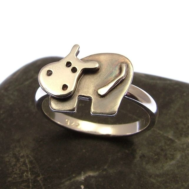 Sterling Silver Hippo Ring - Stacking Ring - Hippo Jewellery - Hippo Gifts